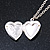 Small Silver Tone Heart with Double Heart Motif Locket Pendant - 40cm L/ 7cm Ext - view 4
