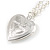 Small Silver Tone Heart with Double Heart Motif Locket Pendant - 40cm L/ 7cm Ext - view 5