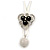 3 Petal Crystal, Ceramic Bead Floral Pendant with White Waxed Cotton Cord - 66cm L