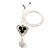 3 Petal Crystal, Ceramic Bead Floral Pendant with White Waxed Cotton Cord - 66cm L - view 4
