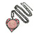 Pink Crystal Cameo Heart Pendant with Chain In Gun Metal - 60cm L/ 5cm Ext - view 3