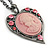 Pink Crystal Cameo Heart Pendant with Chain In Gun Metal - 60cm L/ 5cm Ext - view 4
