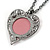 Pink Crystal Cameo Heart Pendant with Chain In Gun Metal - 60cm L/ 5cm Ext - view 6