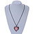 Pink Crystal Cameo Heart Pendant with Chain In Gun Metal - 60cm L/ 5cm Ext - view 2