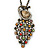 Vintage Inspired Multicoloured Crystal Peacock Pendant with Chain In Bronze Tone - 72cm L/ 6cm Ext
