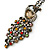 Vintage Inspired Multicoloured Crystal Peacock Pendant with Chain In Bronze Tone - 72cm L/ 6cm Ext - view 4