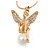 Diamante/ Simulated Pearl 'Fairy' Pendant with Snake Style Chain In Gold Plated Metal - 44cm L/ 4cm Ext