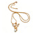 Diamante/ Simulated Pearl 'Fairy' Pendant with Snake Style Chain In Gold Plated Metal - 44cm L/ 4cm Ext - view 2