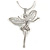 Crystal Fairy Pendant with Snake Style Chain In Silver Tone - 44cm L/ 4cm Ext