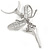 Crystal Fairy Pendant with Snake Style Chain In Silver Tone - 44cm L/ 4cm Ext - view 3