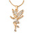 Clear Crystal Fairy Pendant with Gold Tone Snake Type Chain - 45cm L/ 5cm Ext