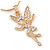 Clear Crystal Fairy Pendant with Gold Tone Snake Type Chain - 45cm L/ 5cm Ext - view 2