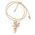 Clear Crystal Fairy Pendant with Gold Tone Snake Type Chain - 45cm L/ 5cm Ext - view 3