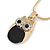 Cute Crystal Owl Pendant with Snake Type Chain In Gold Tone Metal - 42cm L/ 4cm - view 2