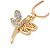 Small Crystal Butterfly Pendant With Gold Tone Snake Chain - 40m Length/ 5cm Extension - view 2