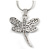 Delicate Crystal Drafonfly Pendant with Snake Type Chain In Silver Tone - 40cm L/ 5cm Ext