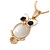 Cute Crystal Owl Pendant with Snake Type Chain In Gold Tone Metal - 44cm L/ 4cm - view 2