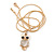 Cute Crystal Owl Pendant with Snake Type Chain In Gold Tone Metal - 44cm L/ 4cm - view 3