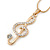 Gold Plated Clear Crystal Treble Clef Pendant with Gold Tone Snake Type Chain - 44cm L/ 3cm Ext - view 2