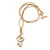 Gold Plated Clear Crystal Treble Clef Pendant with Gold Tone Snake Type Chain - 44cm L/ 3cm Ext - view 3