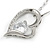 Romantic Crystal Open Heart Pendant with Silver Tone Chain - 41cm L/ 4cm Ext - view 4