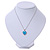 Romantic Sky Blue/ Clear Crystal Heart Pendant with Silver Tone Chain - 41cm L/ 4cm Ext - view 2