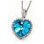Romantic Sky Blue/ Clear Crystal Heart Pendant with Silver Tone Chain - 41cm L/ 4cm Ext
