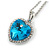 Romantic Sky Blue/ Clear Crystal Heart Pendant with Silver Tone Chain - 41cm L/ 4cm Ext - view 3