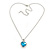 Romantic Sky Blue/ Clear Crystal Heart Pendant with Silver Tone Chain - 41cm L/ 4cm Ext - view 4
