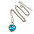 Romantic Sky Blue/ Clear Crystal Heart Pendant with Silver Tone Chain - 41cm L/ 4cm Ext - view 5
