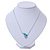 Sky Blue/ Amethyst/ Clear Crystal Butterfly Pendant wiht Silver Tone Chain - 42cm L/ 5cm Ext - view 2