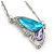 Sky Blue/ Amethyst/ Clear Crystal Butterfly Pendant wiht Silver Tone Chain - 42cm L/ 5cm Ext - view 3