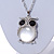 Large Crystal Owl Pendant with Chunky Chain In Silver Tone - 70cm L - view 4