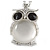 Large Crystal Owl Pendant with Chunky Chain In Silver Tone - 70cm L