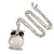 Large Crystal Owl Pendant with Chunky Chain In Silver Tone - 70cm L - view 2