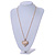 Clear Crystal Puffed Heart Pendant with Long Chunky Chain In Gold Tone Metal - 70cm L - view 3