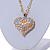 Clear Crystal Puffed Heart Pendant with Long Chunky Chain In Gold Tone Metal - 70cm L - view 4