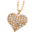 Clear Crystal Puffed Heart Pendant with Long Chunky Chain In Gold Tone Metal - 70cm L