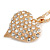 Clear Crystal Puffed Heart Pendant with Long Chunky Chain In Gold Tone Metal - 70cm L - view 5