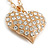 Clear Crystal Puffed Heart Pendant with Long Chunky Chain In Gold Tone Metal - 70cm L - view 6