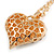 Clear Crystal Puffed Heart Pendant with Long Chunky Chain In Gold Tone Metal - 70cm L - view 7