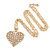 Clear Crystal Puffed Heart Pendant with Long Chunky Chain In Gold Tone Metal - 70cm L - view 2