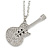 Statement Crystal Guitar Pendant with Long Chunky Chain In Silver Tone - 68cm L