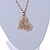 Clear Crystal Heart Pendant with Long Chunky Chain In Gold Tone Metal - 70cm L - view 4
