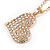 Clear Crystal Heart Pendant with Long Chunky Chain In Gold Tone Metal - 70cm L - view 5