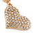 Clear Crystal Heart Pendant with Long Chunky Chain In Gold Tone Metal - 70cm L - view 6