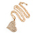 Clear Crystal Heart Pendant with Long Chunky Chain In Gold Tone Metal - 70cm L - view 2