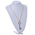 Statement Crystal Key Pendant with Long Chunky Chain In Gold Tone - 70cm L - view 3