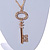 Statement Crystal Key Pendant with Long Chunky Chain In Gold Tone - 70cm L - view 4