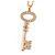 Statement Crystal Key Pendant with Long Chunky Chain In Gold Tone - 70cm L